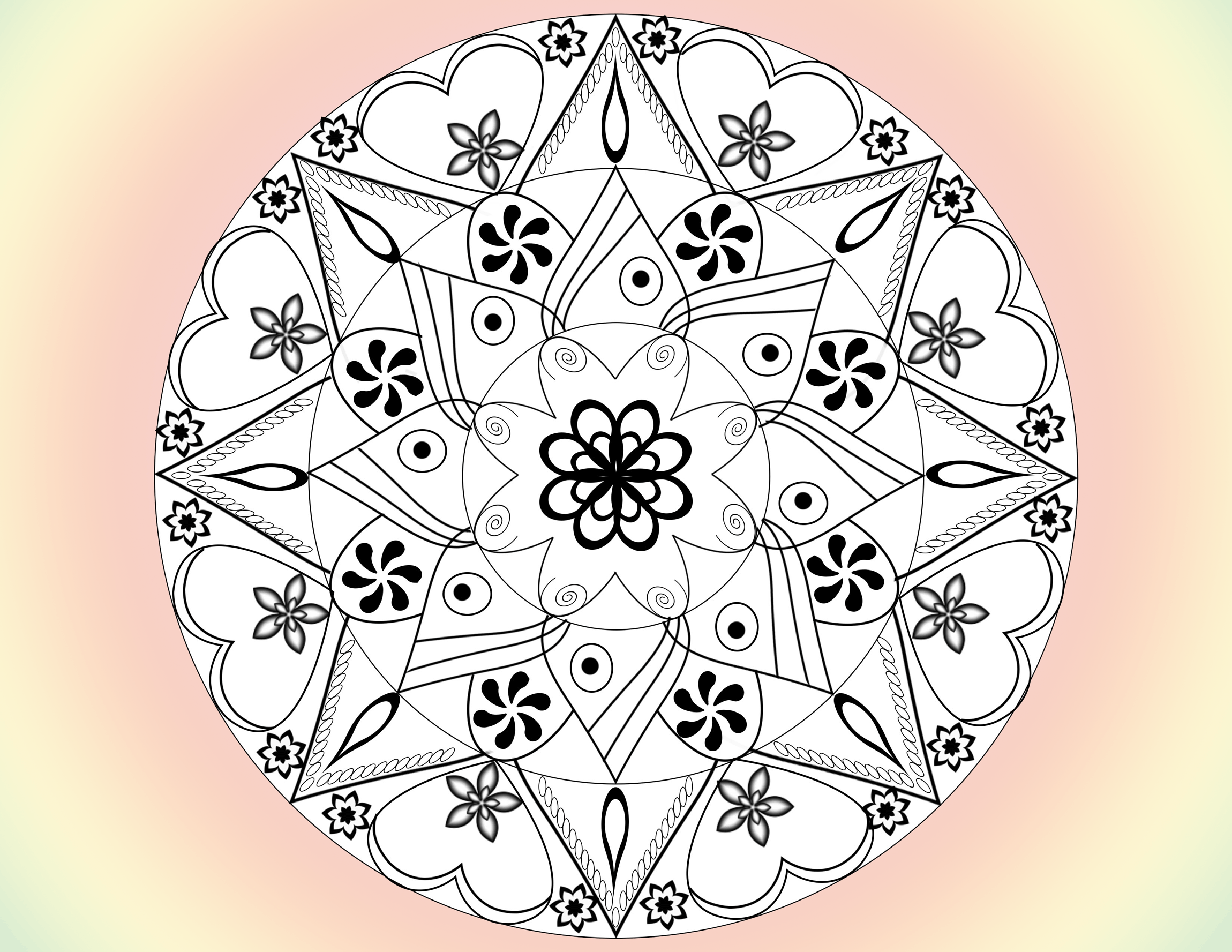 free mandala flower coloring page
